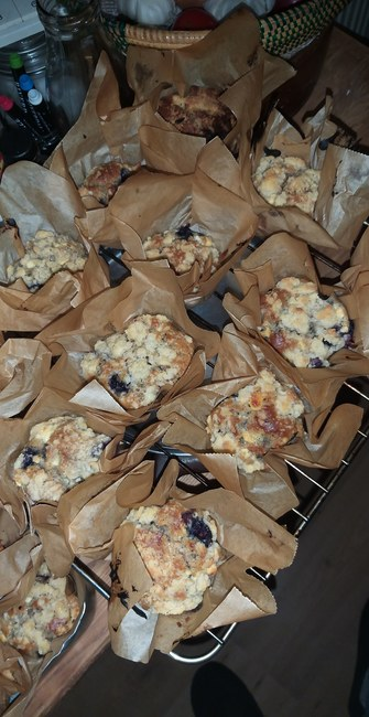 Blueberry White Choclate Muffins met Crumble