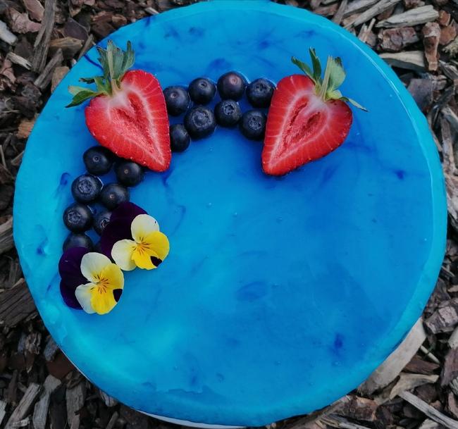 Blue strawberry cake